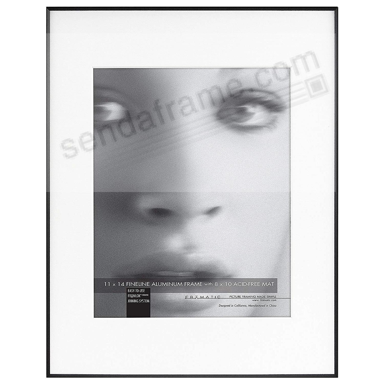 FINELINE Black Aluminum 11x14/8x10 Matted by Framatic®