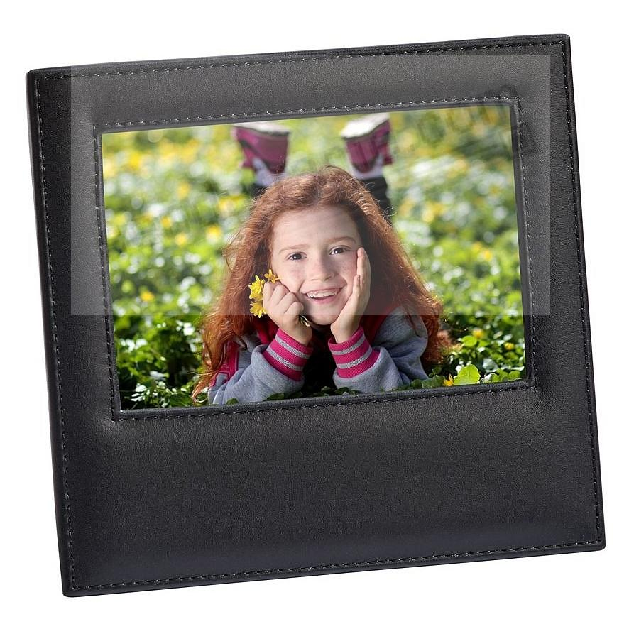 Black Top-Grain Leather 4x6 frame