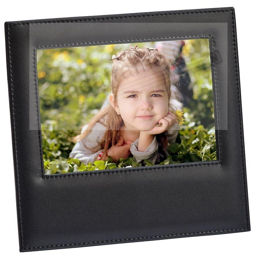 Black Top-Grain Leather 5x7 frame