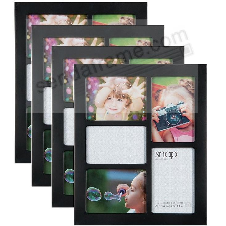 BLACK Collage Frame for 5 prints 3½x5 + 3½x4½ by SNAP™ (SPECIAL VALUE 4 pack)