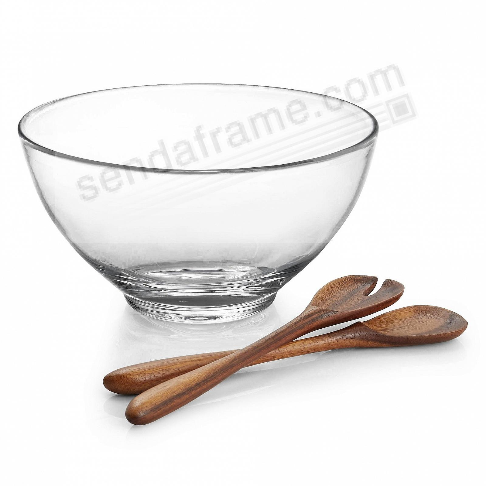 The Original MODERNE SALAD BOWL w/WOOD SERVERS crafted by Nambe®