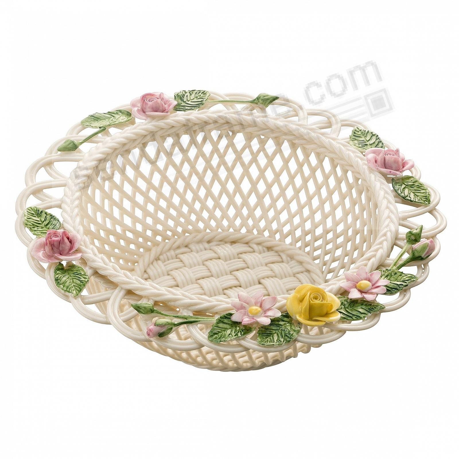 ROSE GEBERA Irish Porcelain Basket by Belleek®