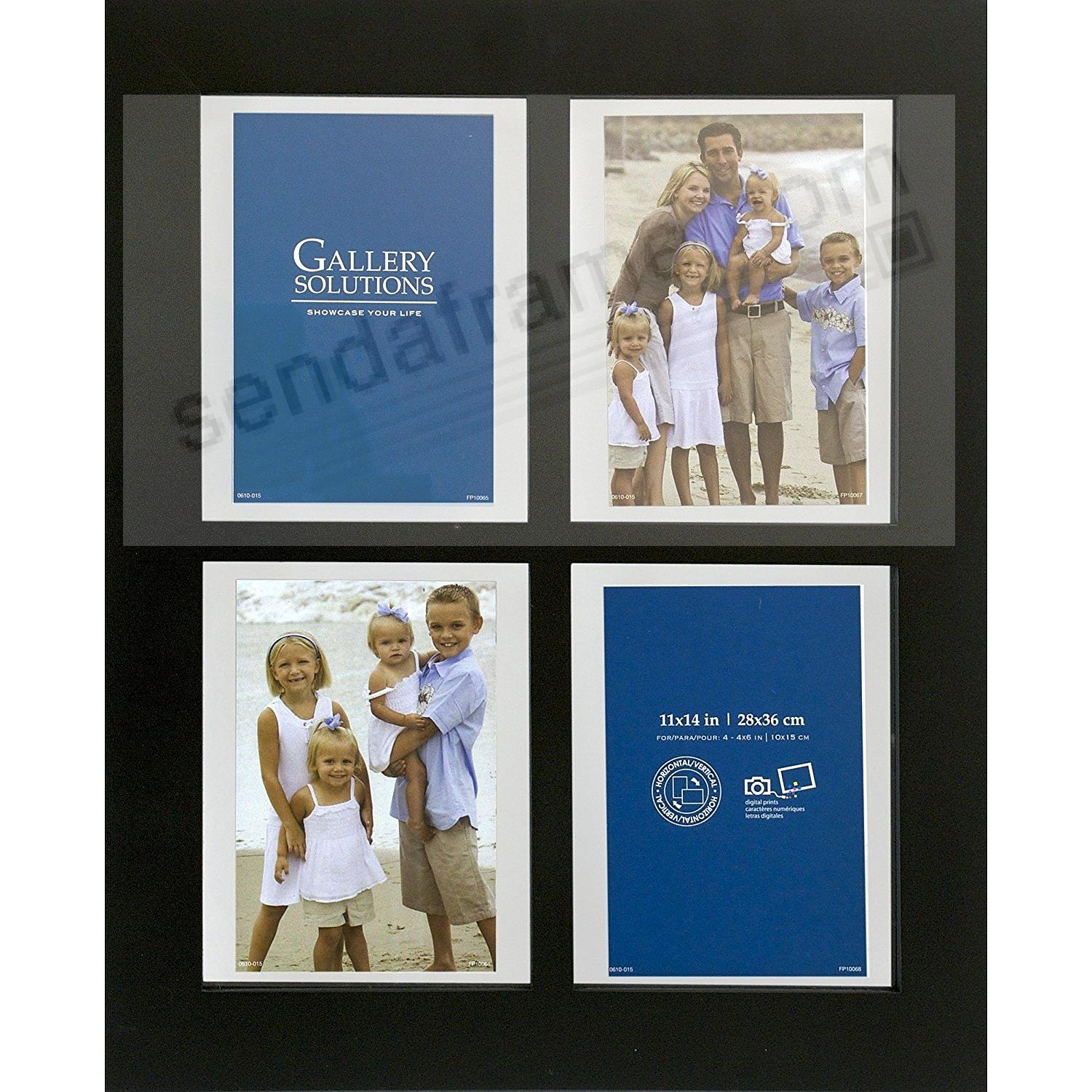 BLACK Windowpane Collage displays (4) prints 4x6 by Gallery Solutions®