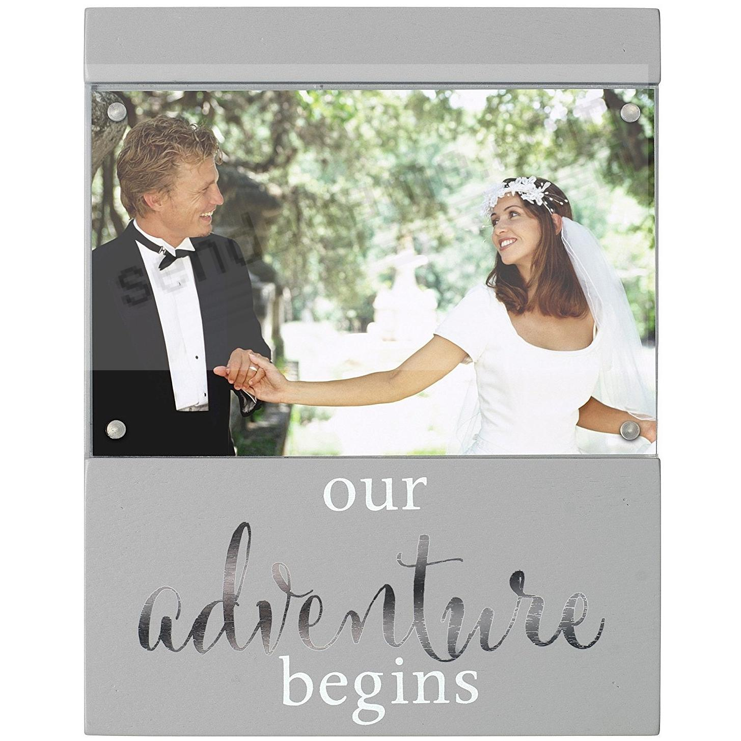 OUR ADVENTURE BEGINS Gray 4x6 frame by Malden®