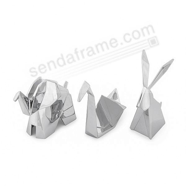 ORIGAMI RABBIT-SWAN-ELEPHANT Chrome Ring Holders by Umbra® - 3 PC Gift Pack