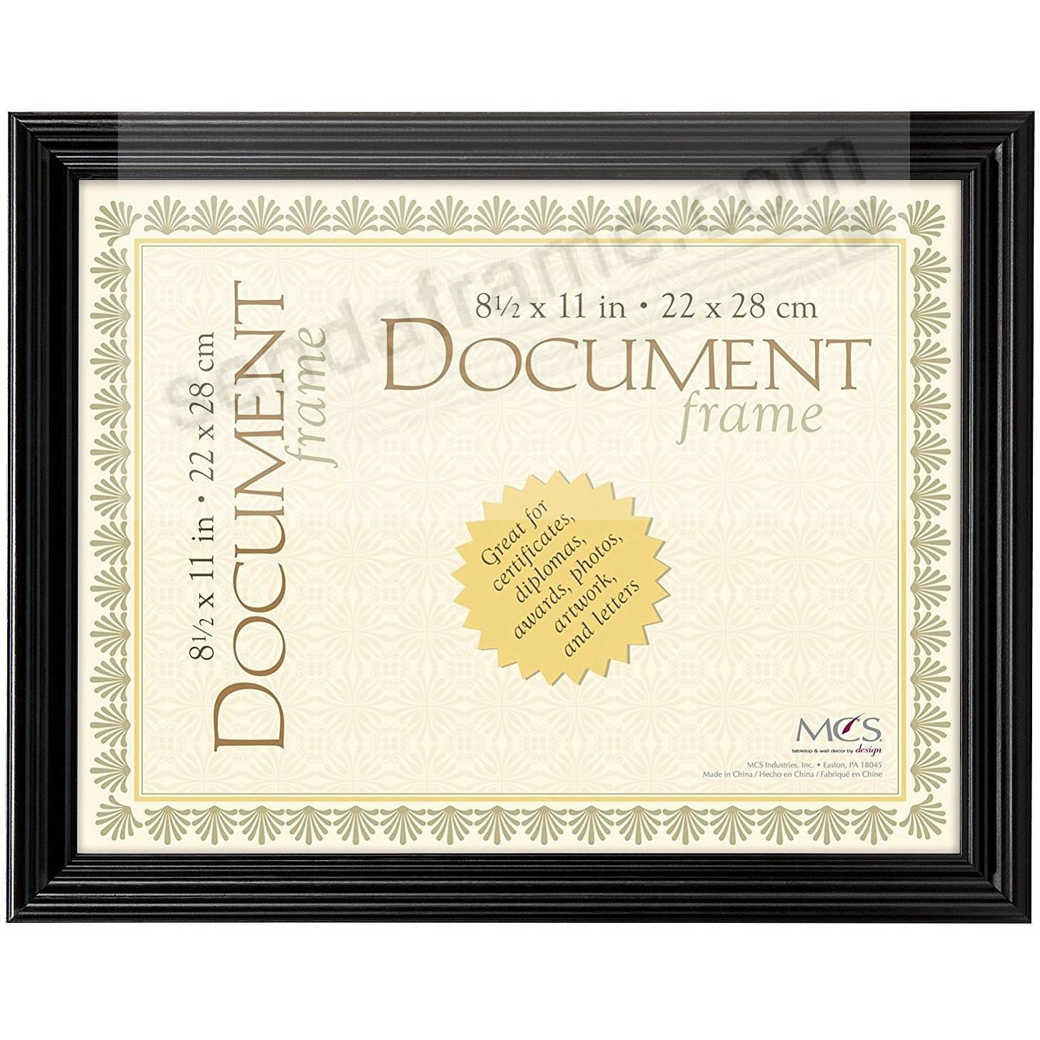 STYLE ONE Black Solid Wood 8½x11 Document frame from MCS®