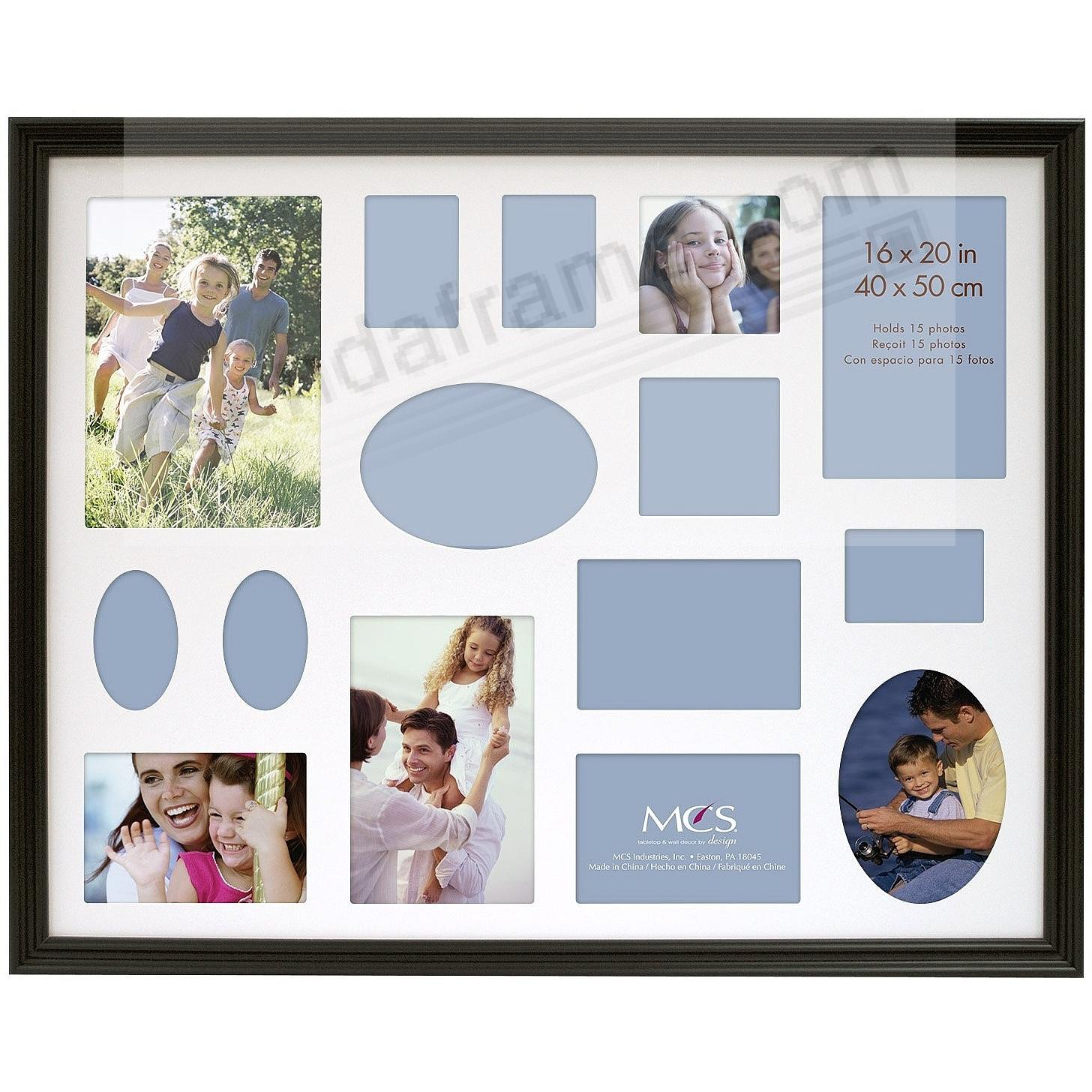 STYLE ONE Black Solid Wood 16x20/Matted for 15 photos from MCS®