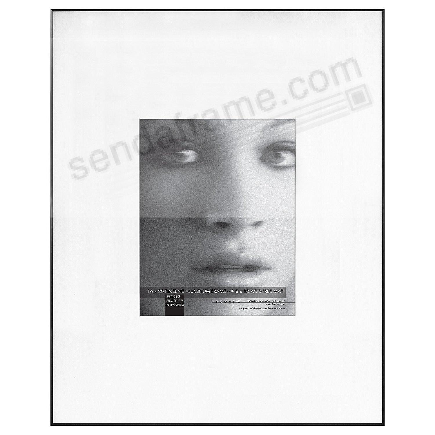 FINE LINE Black Aluminum 16x20/8x10 Matted by Framatic®