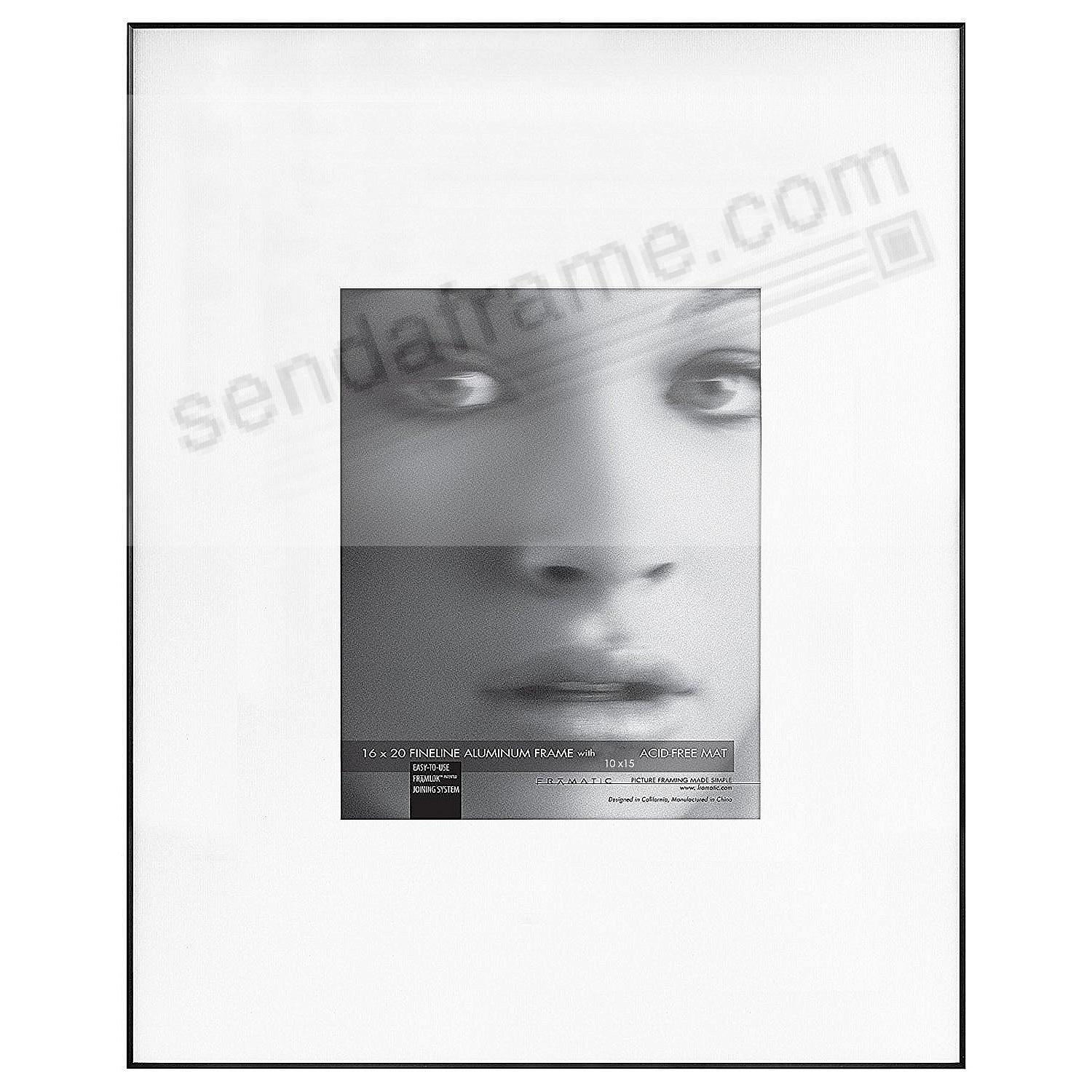 FINE LINE Black Aluminum 16x20/10x15 Matted by Framatic®