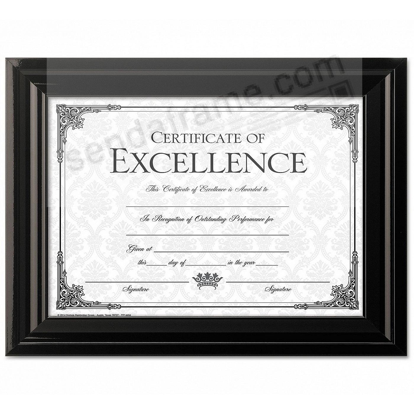 High-Gloss Black Double-Bevel Certificate frame by DAX®