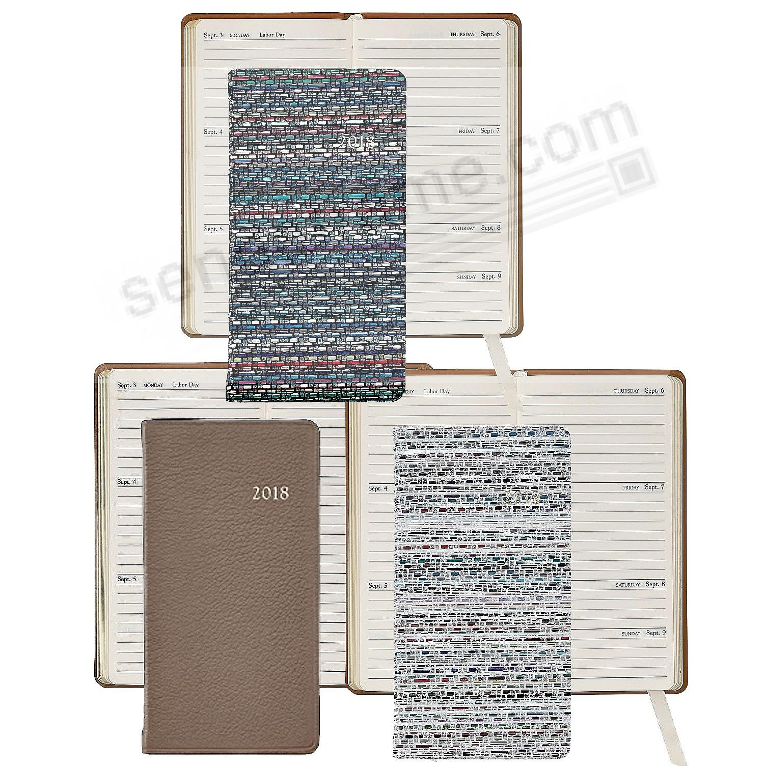 2018 6in Pocket Datebook Diary Fine Leather by Graphic Image™ - Assorted