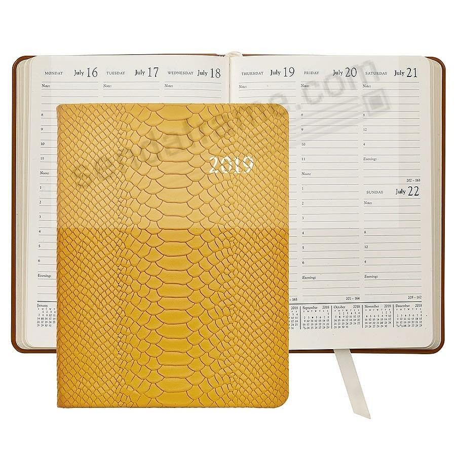2019 YELLOW PYTHON EMBOSSED Leather 9-in Desk Diary by Graphic Image™