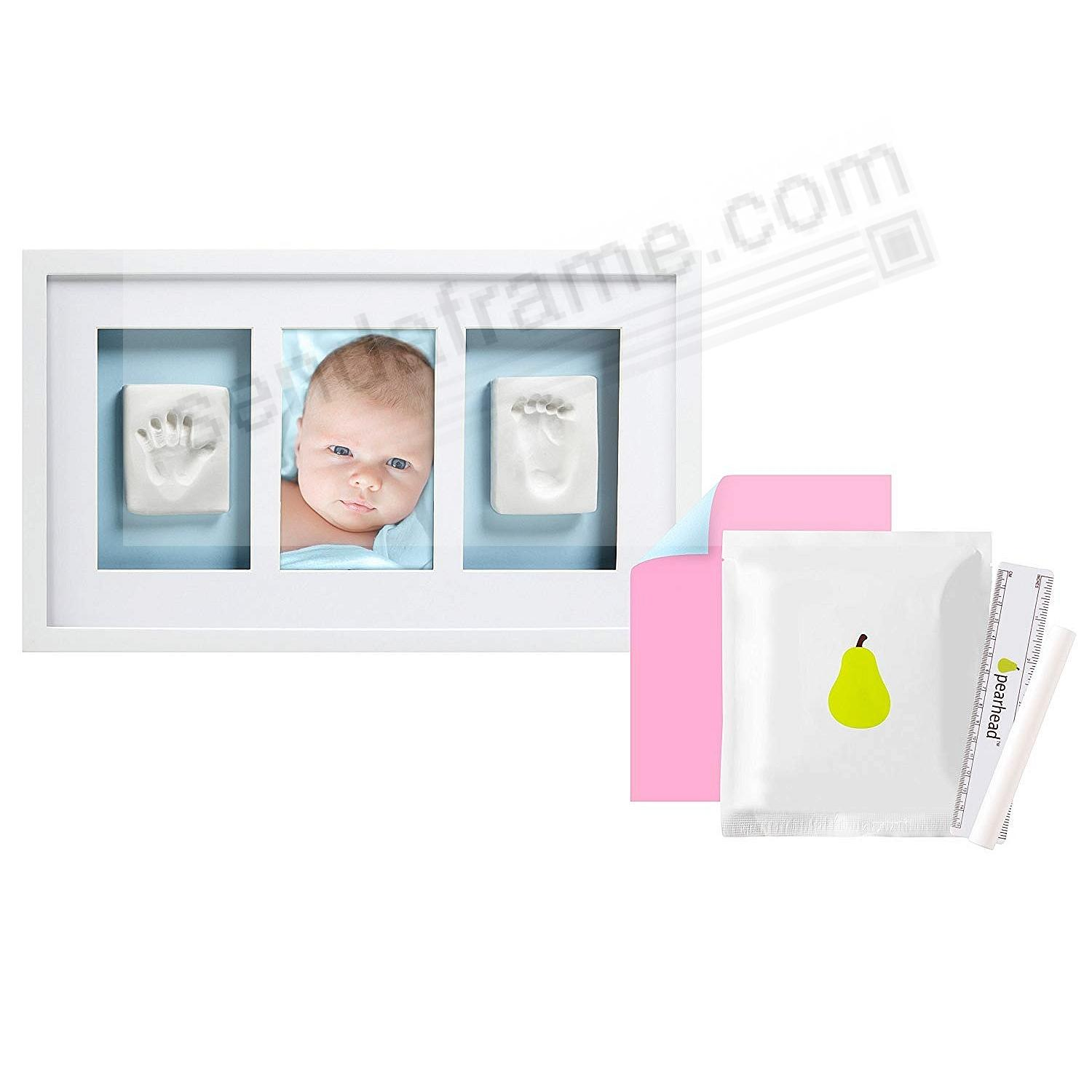 Pearhead® Baby Handprint and Footprint Deluxe Wall Frame + Impression Kit - White