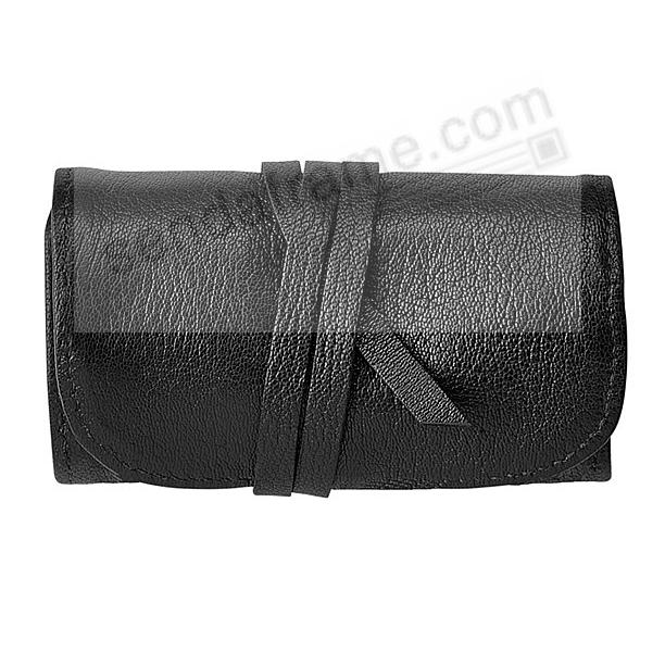 BLACK Fine Leather Jewel Roll by Graphic Image™