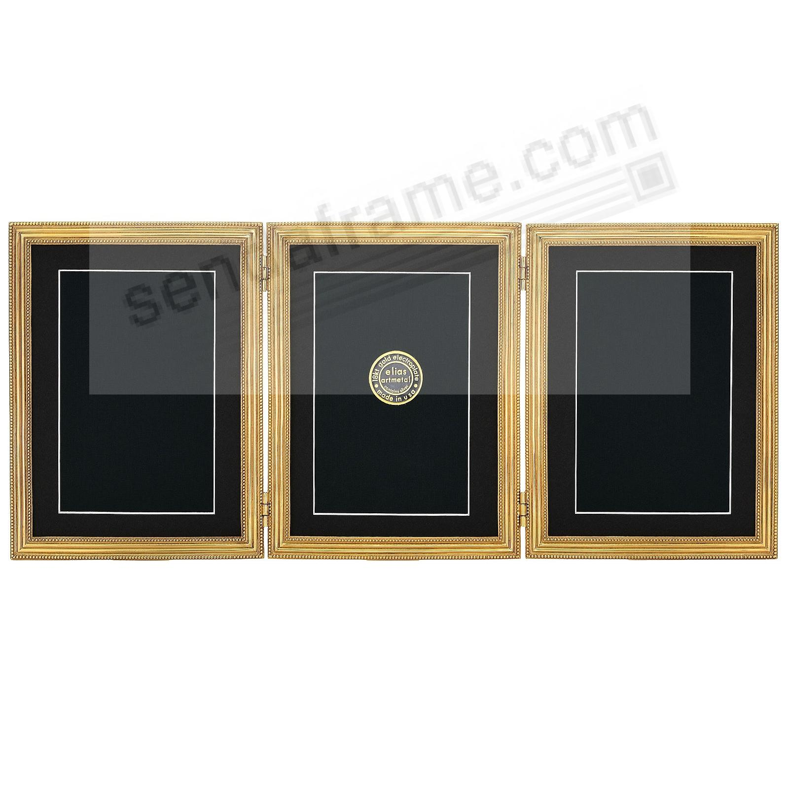CLASSICO TRIPLE Hinged 5x7/4x6 frame in fine 18kt gold vermeil by Elias Artmetal®