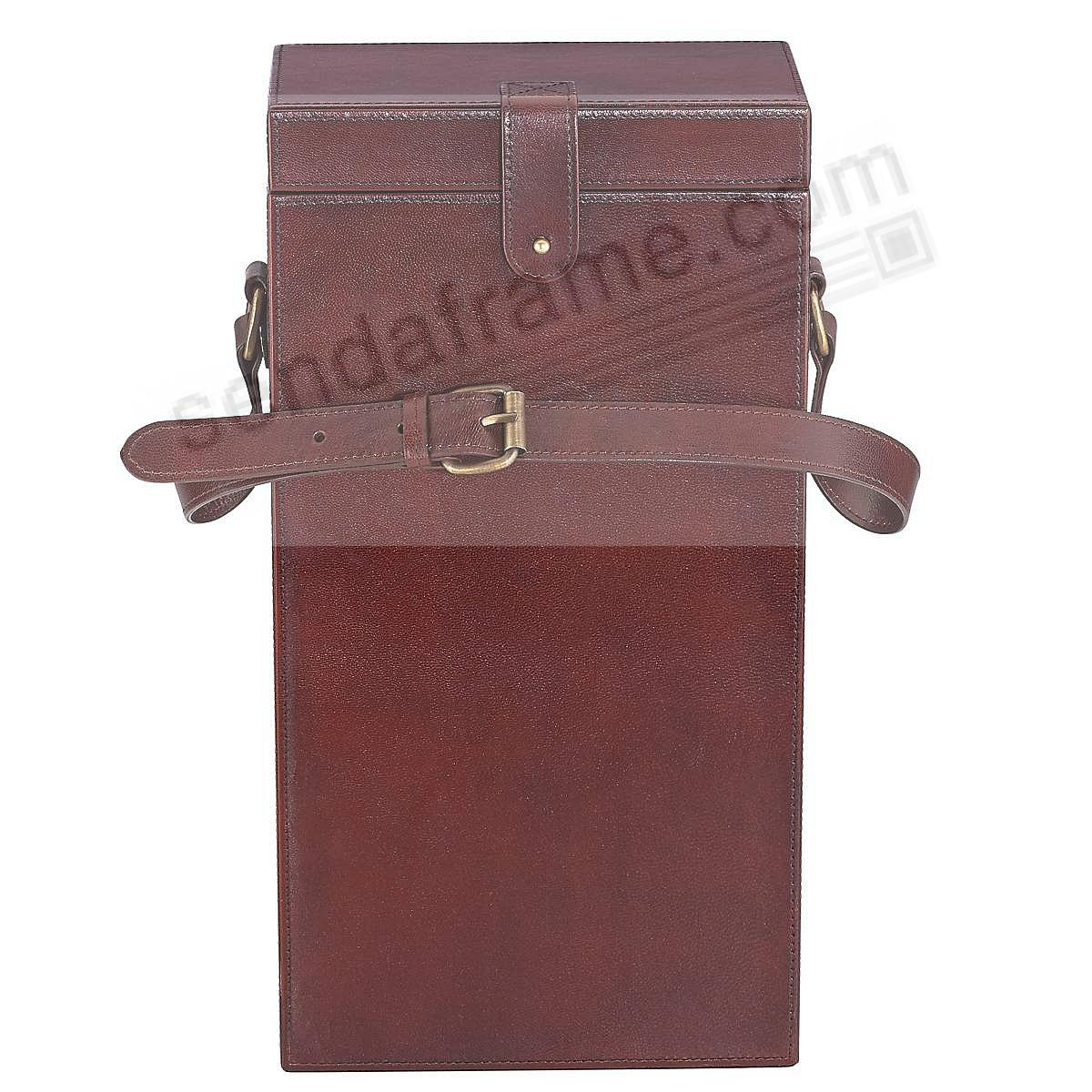 Sumptuous Dark Brown Leather HUDSON SPIRIT HOLDER by Reed & Barton®