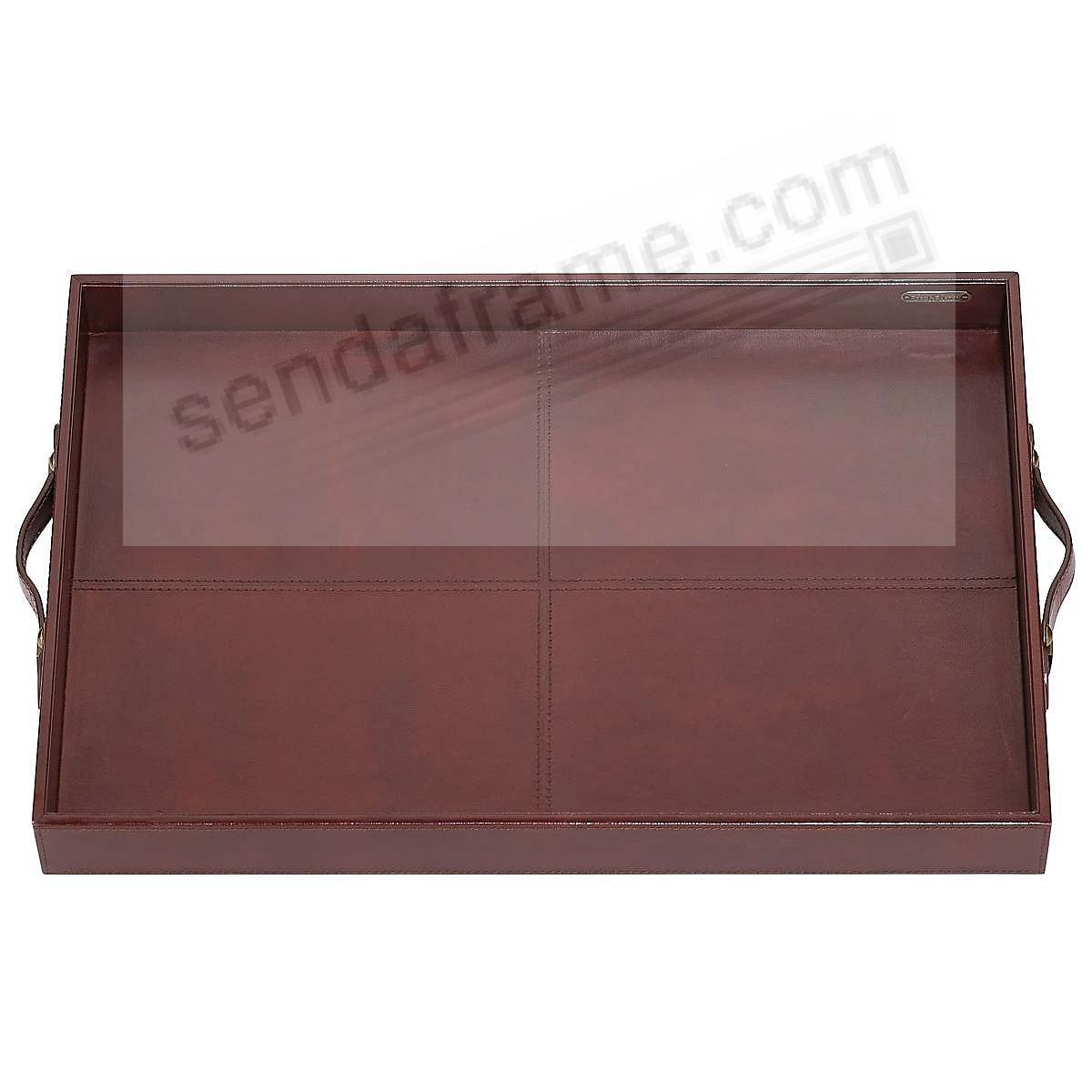 Sumptuous Dark Brown Leather HUDSON BAR/SERVING TRAY by Reed & Barton®