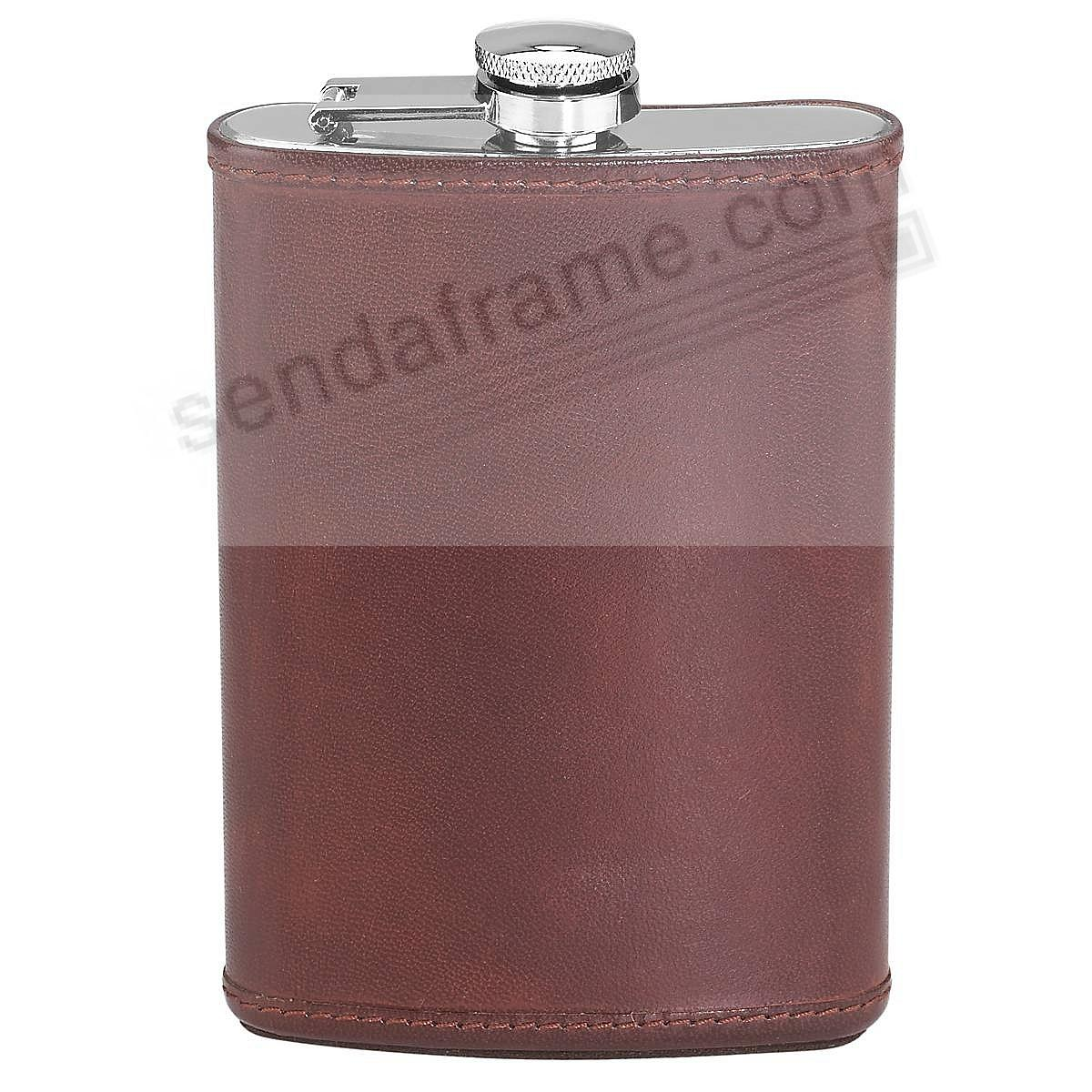 Dark Brown Leather HUDSON FLASK by Reed & Barton®