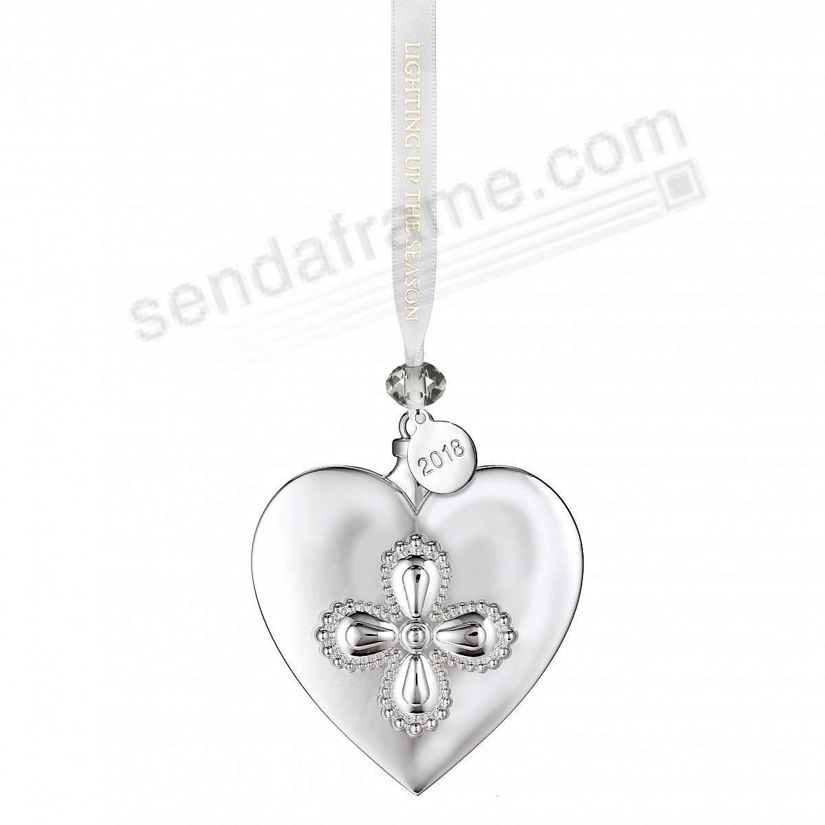 2018 Silver Heart Ornament by Waterford®