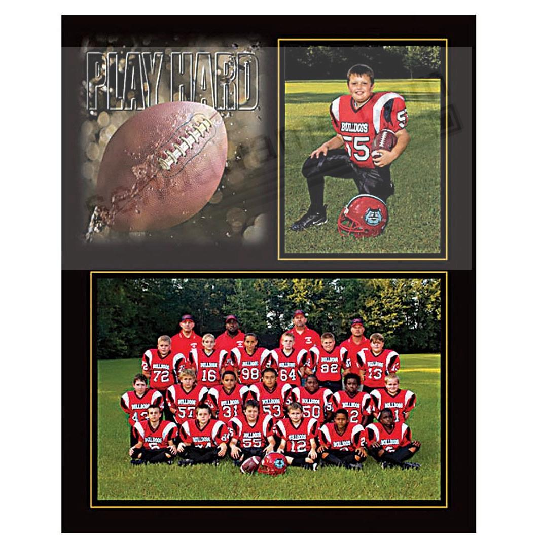 PLAY HARD Football Player/Team 7x5/3½x5 SPORTSMATES cardstock double photo frame (sold in 10's)