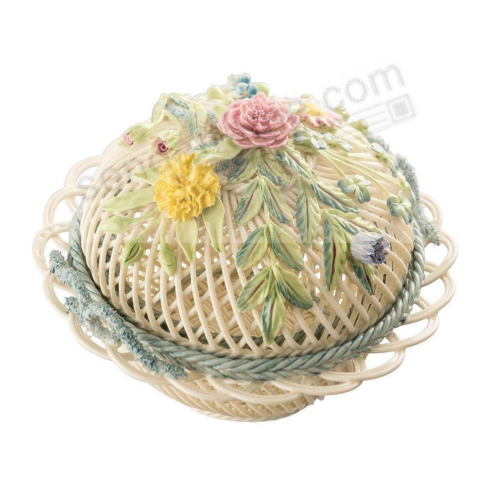 MASTERPIECE COLLECTION ROUND COVERED Irish Porcelain Basket by Belleek®