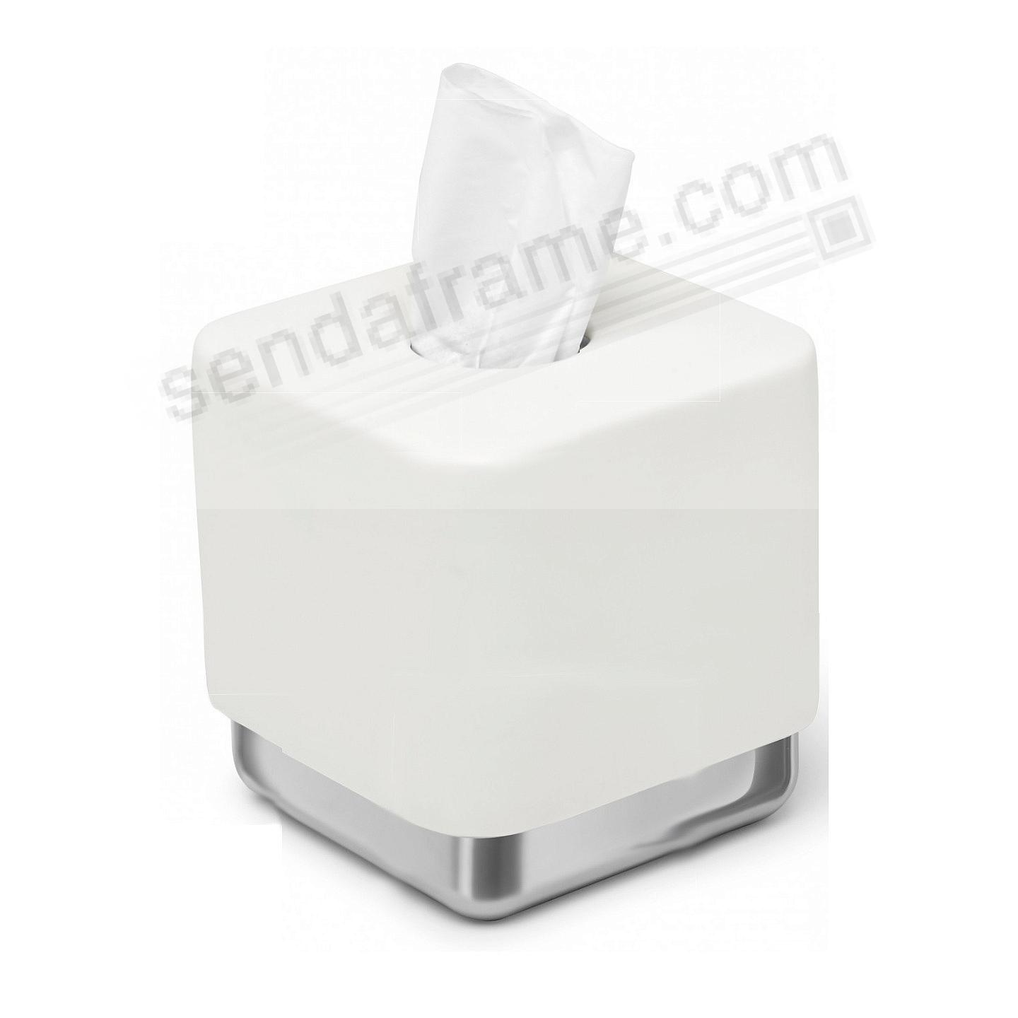 Junip Resin Amenity TISSUE BOX COVER White/Chrome by Umbra®