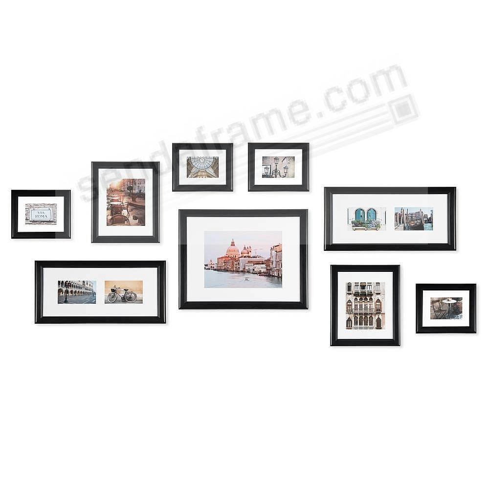 Black Wood 9-PC Wall Set by Gallery Solutions™ (9 piece kit)