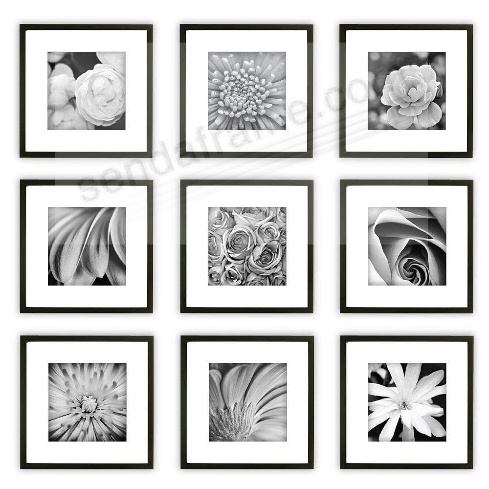 Black Wood 9-PC Wall Set 12x12/8x8 by Gallery Solutions™ (9 piece kit)