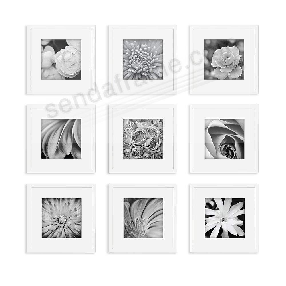 White Wood 9-PC Wall Set 12x12/8x8 by Gallery Solutions™ (9 piece kit)