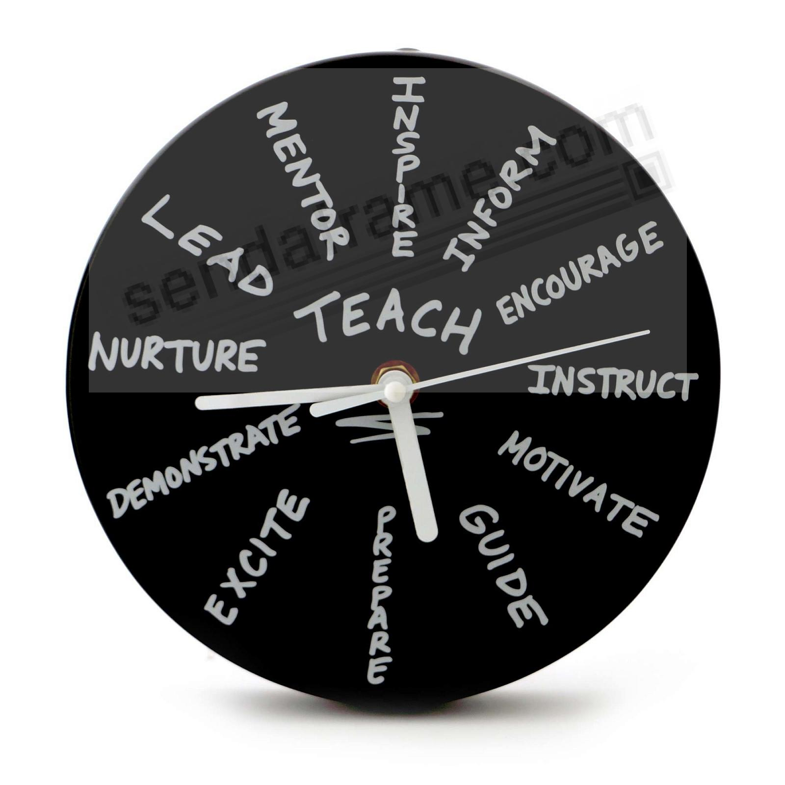 TEACH 7-inch Round Wall Clock by Our Name is Mud®