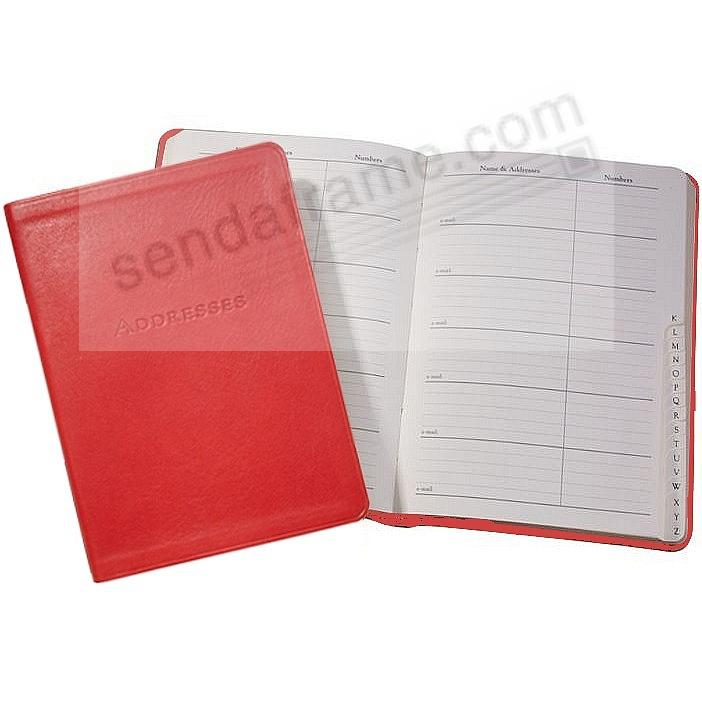 Desk Address Book 7-in RED Calfskin Leather by Graphic Image™