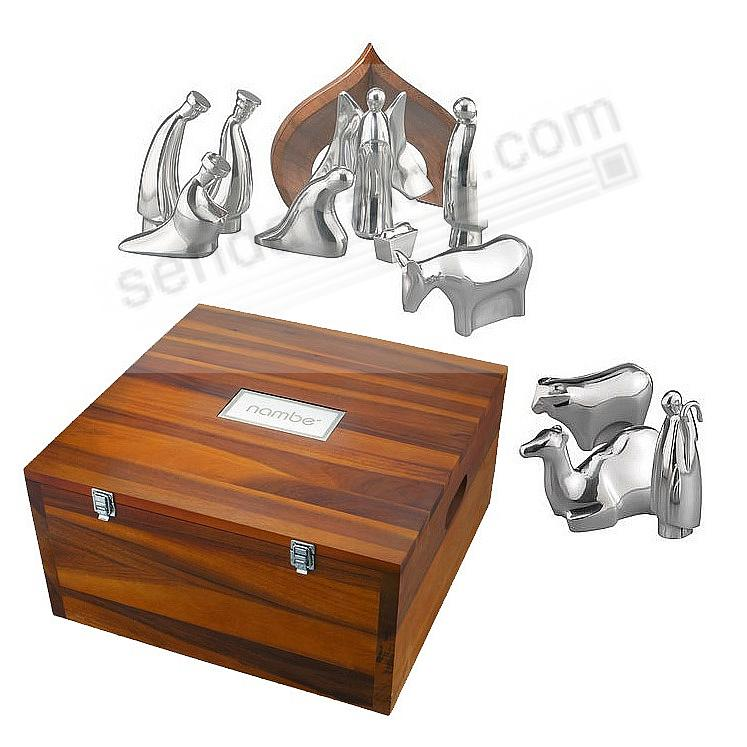 12-PC NATIVITY SCENE SET crafted by Nambe® - free storage box!