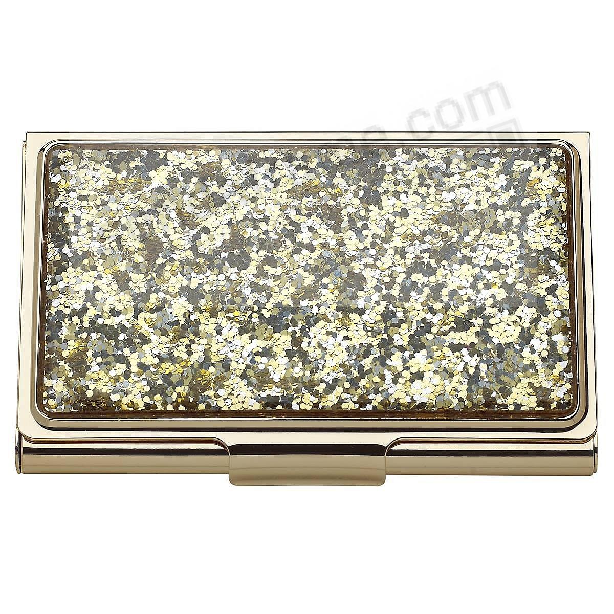 SIMPLY SPARKING GOLD GLITTER Business Card / ID Case by kate spade new york®