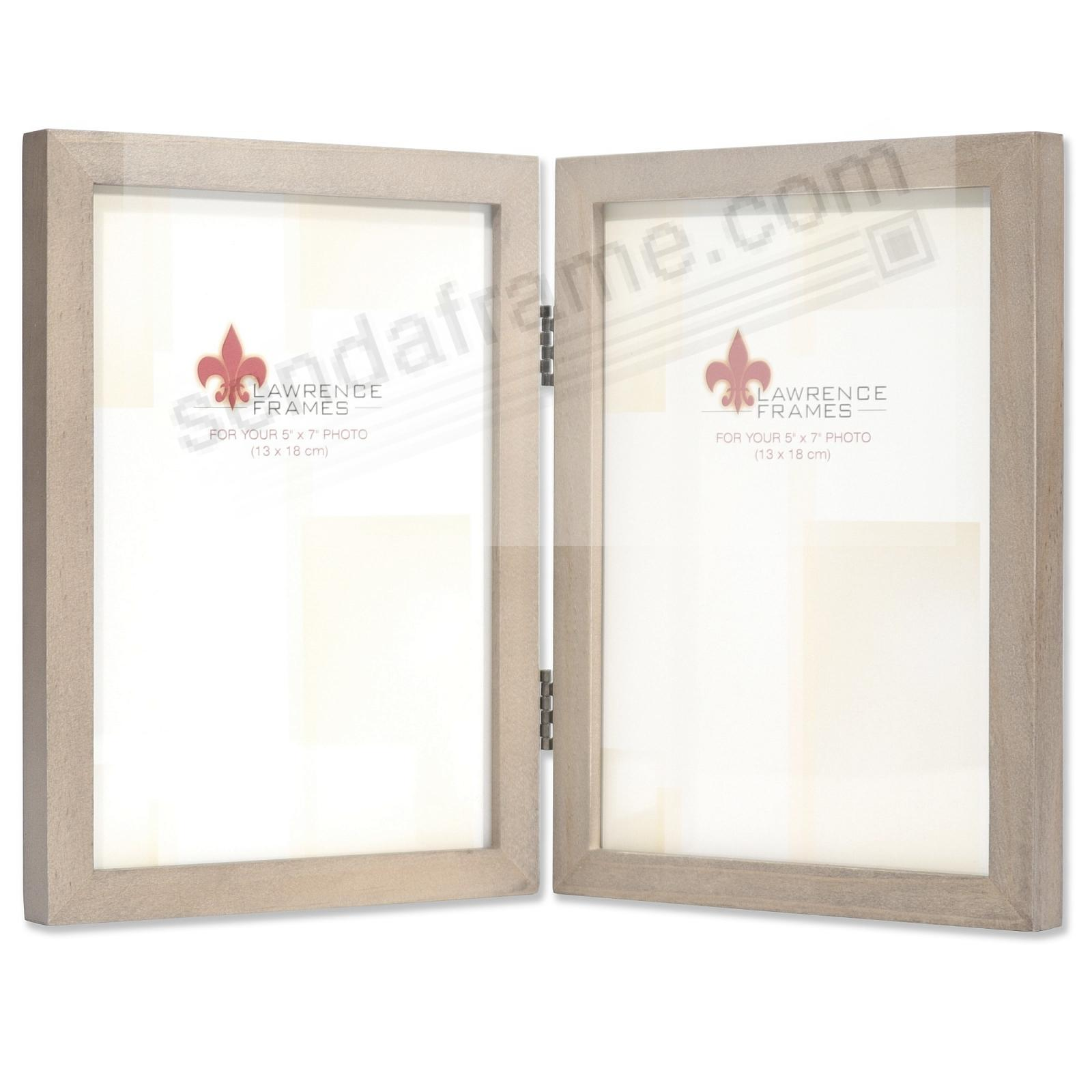 SQUARE CORNER Gray Stain Double Hinged 5x7 frame by Lawrence Frames®