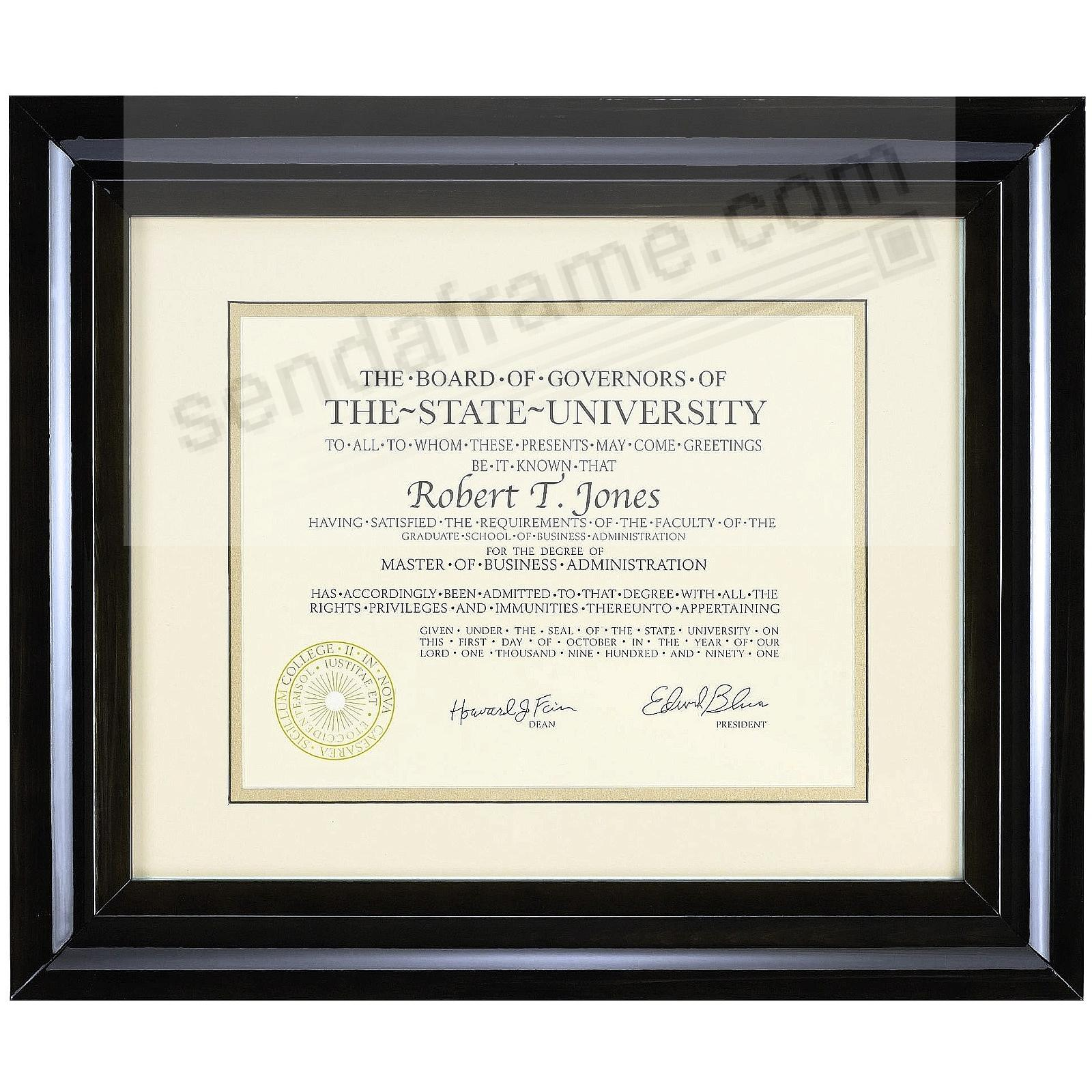 HAMPTON luxe black matted 15x12 / 11x8½ certificate frame by Nielsen®