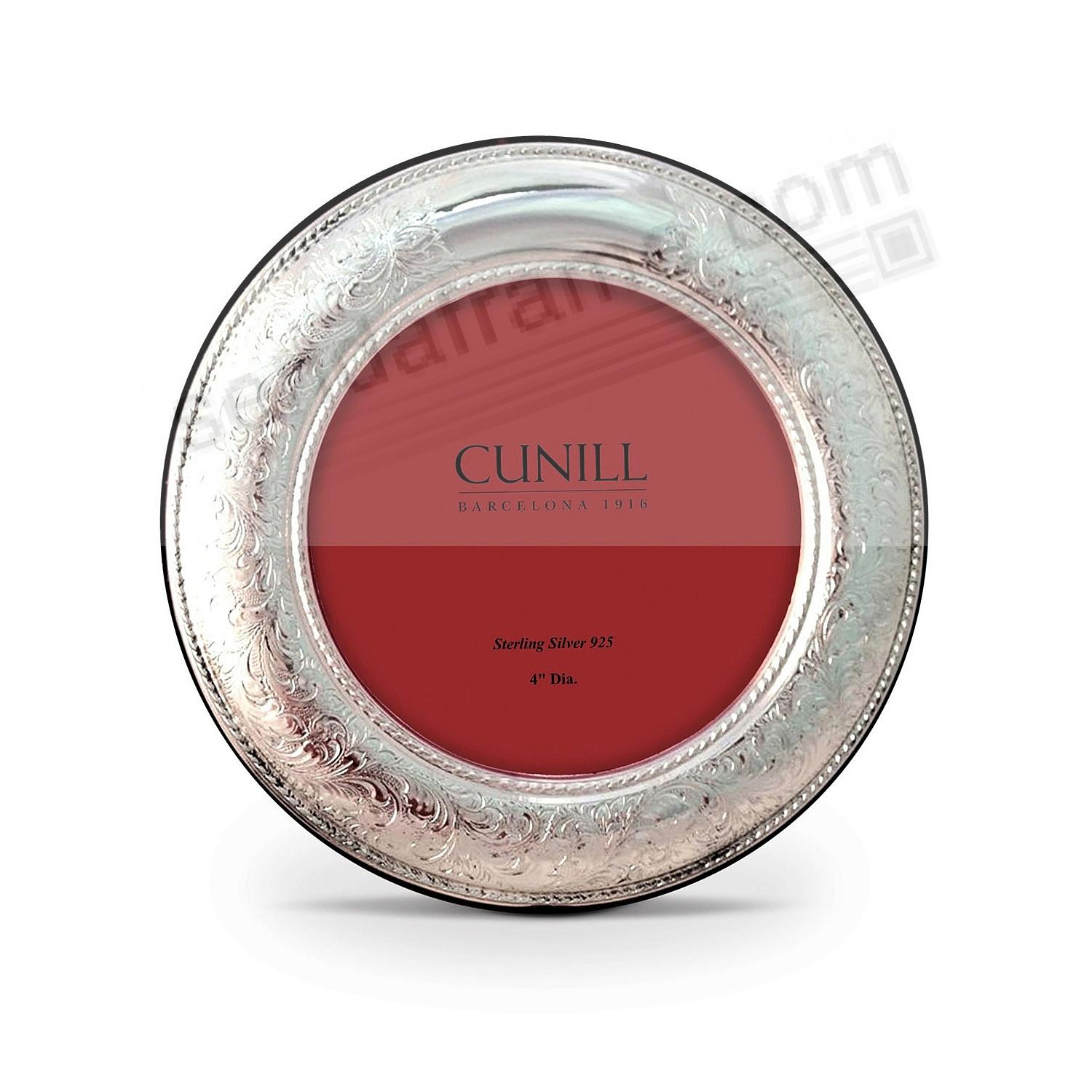 VINTAGE Pure Sterling Silver 4in Round frame<br>by Cunill&reg;