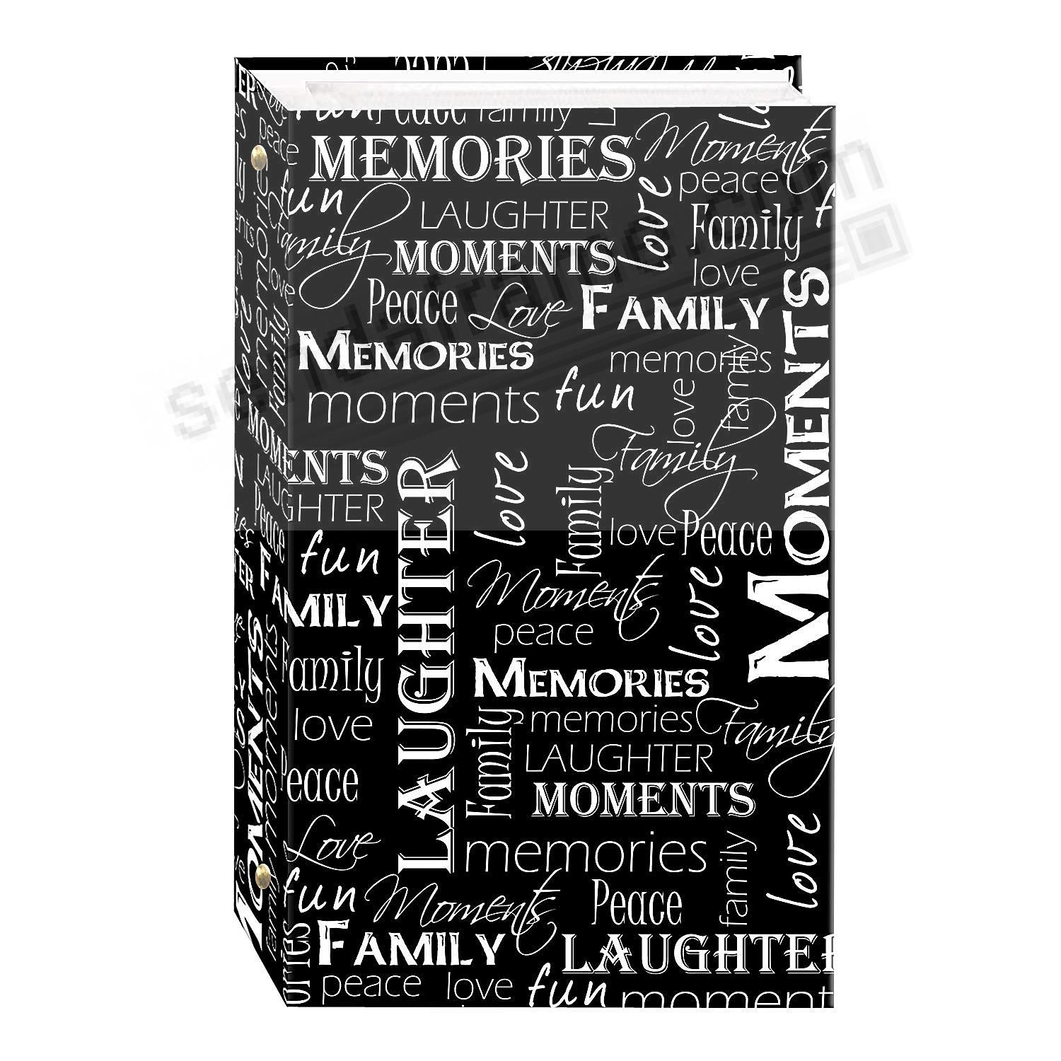 3-ring 3-up slip-in pocket BLACK+WHITE WORDS album for 300+ photos