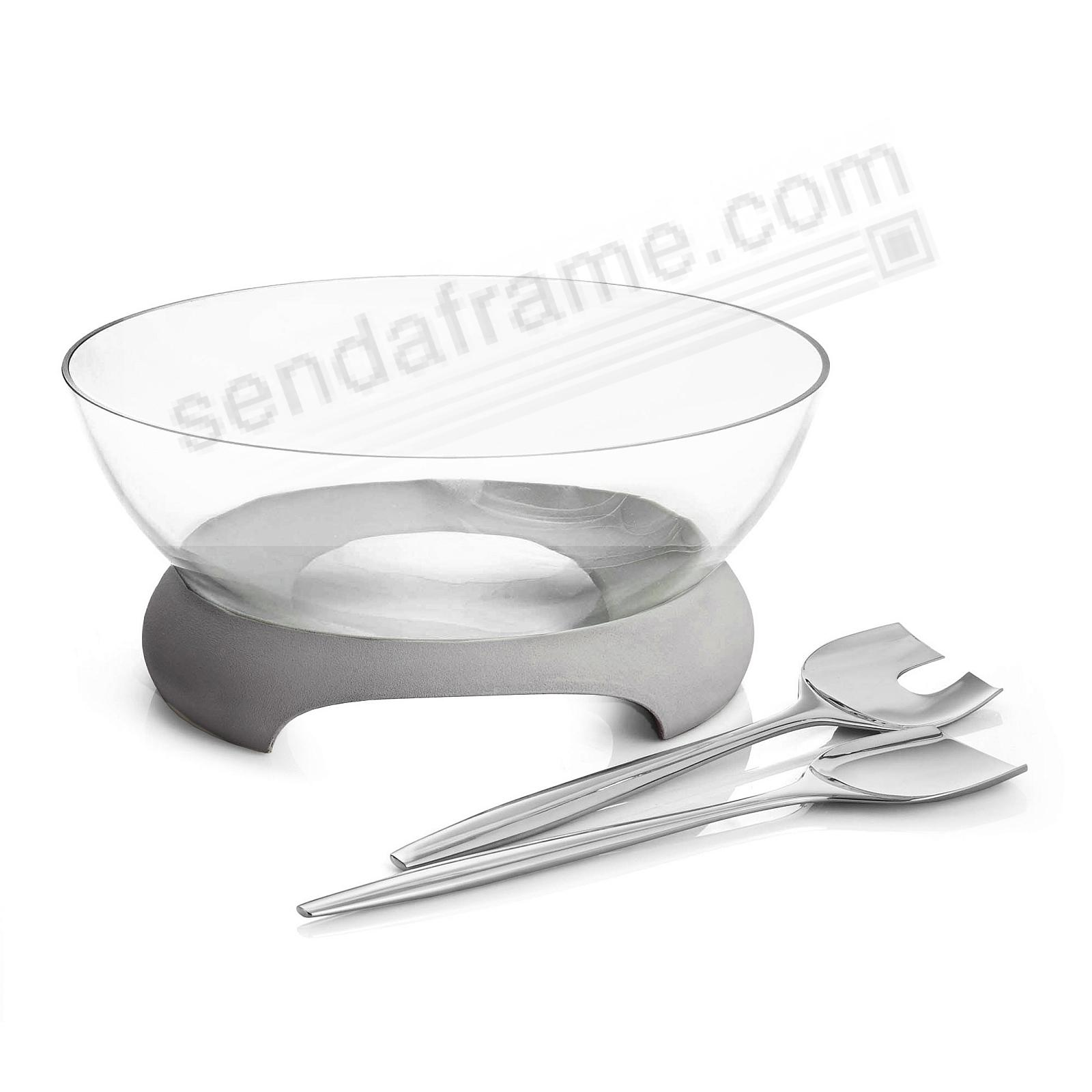 The FORTE GLASS SALAD BOWL w/SERVERS crafted by Nambe®