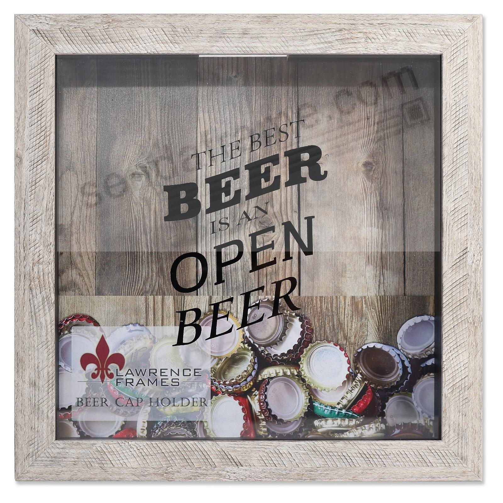BEER CAP KEEPER WEATHERED BIRCH ShadowBox 10x10 frame by Lawrence®