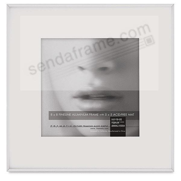 FINELINE White Aluminum 8x8/5x5 Matted by Framatic®