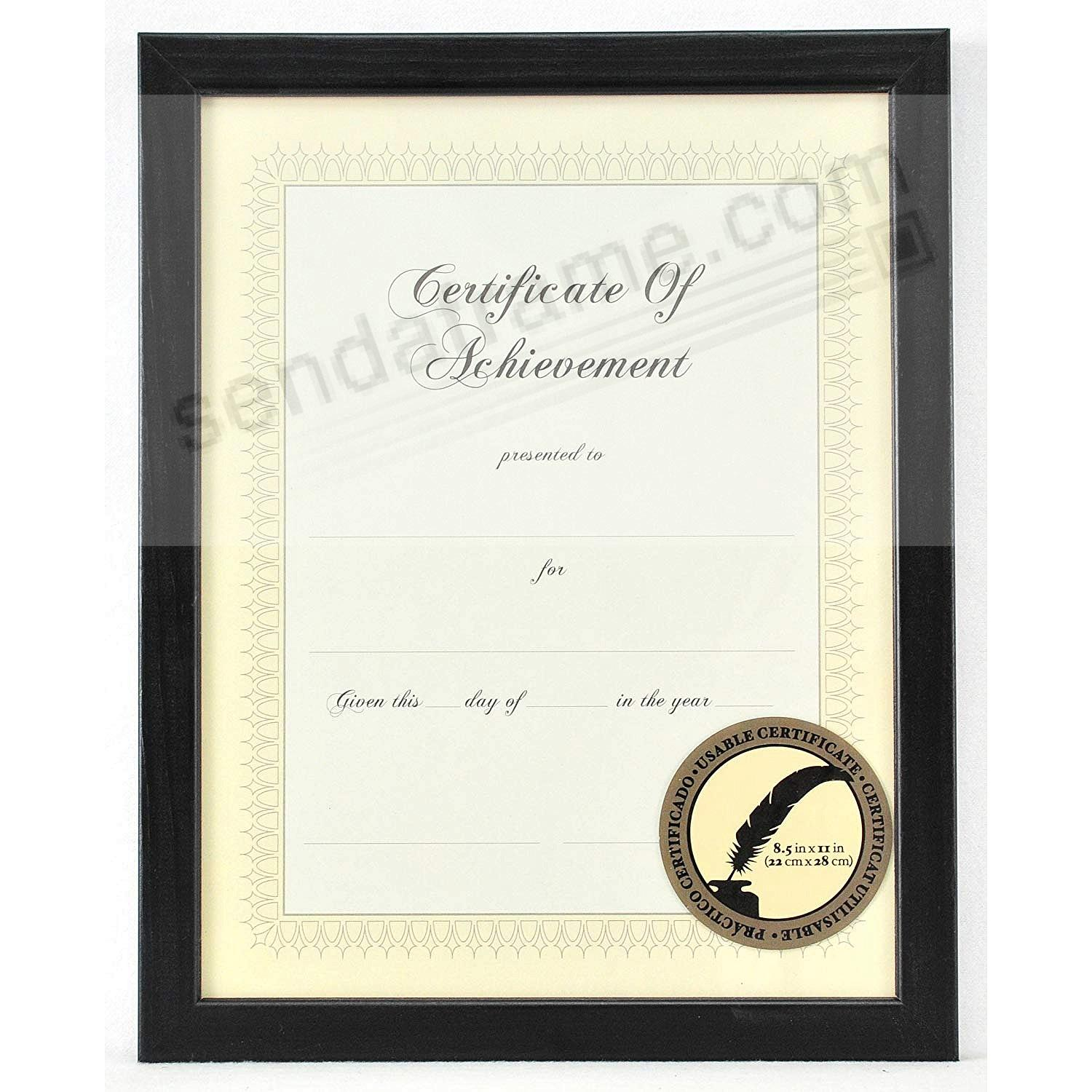 Black-stain Certificate 11x8½ frame by Gallery Solutions®