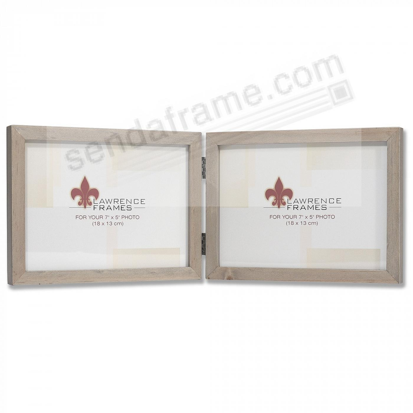 SQUARE CORNER Gray Stain Double Hinged 7x5 frame by Lawrence Frames®