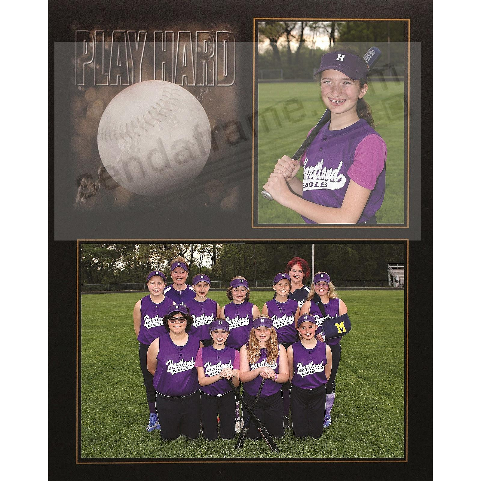 PLAY HARD Softball Player/Team 7x5/3½x5 MEMORY MATES cardstock double photo frame (sold in 10's)
