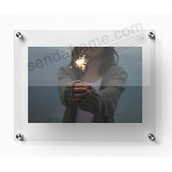 DOUBLE PANEL ACRYLIC Float Frame 12x15 (for 8x10-8.5x11-9x12 art) by Wexel® (Silver hardware)