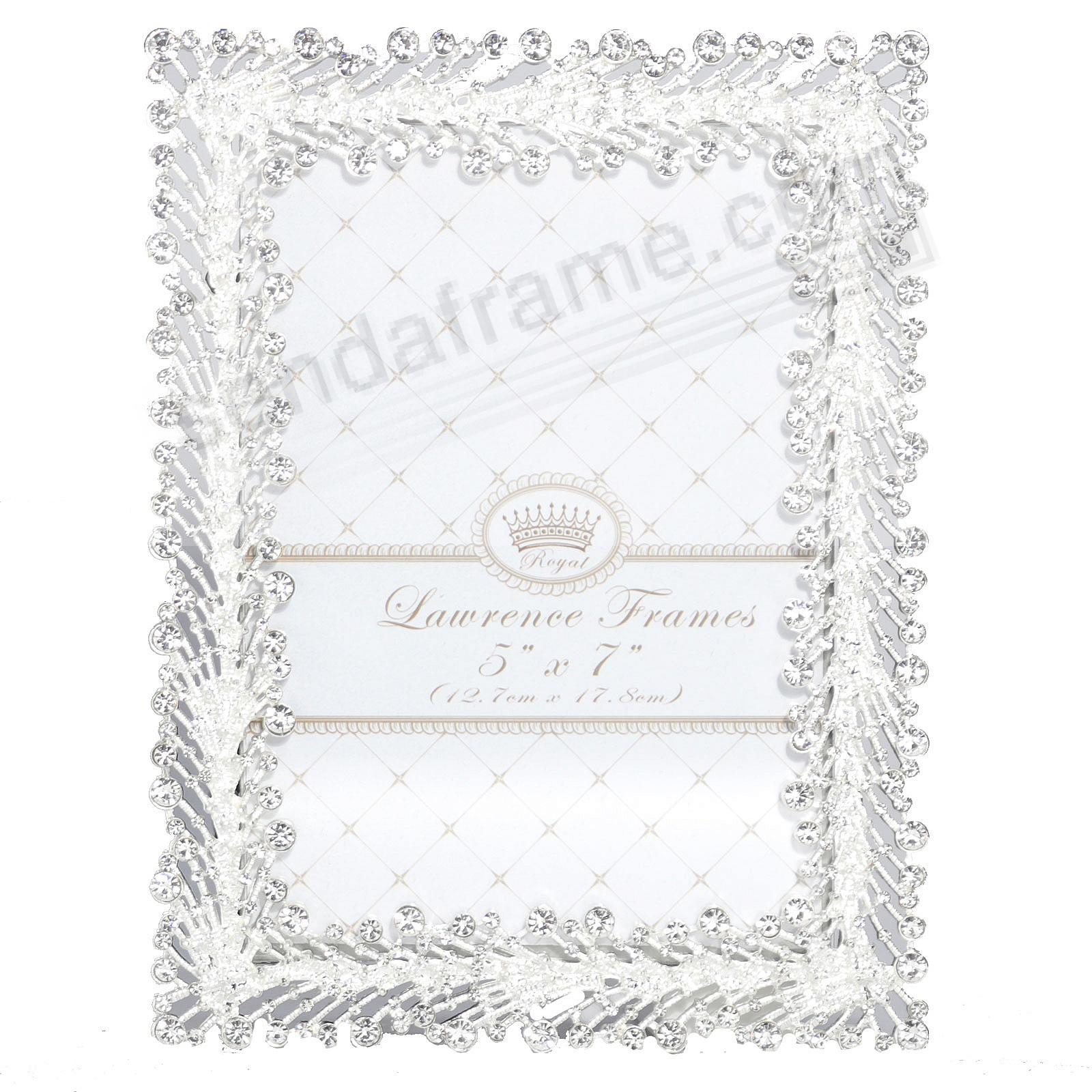SPRAY WHITE CRYSTAL JEWELS + SILVER 5x7 frame