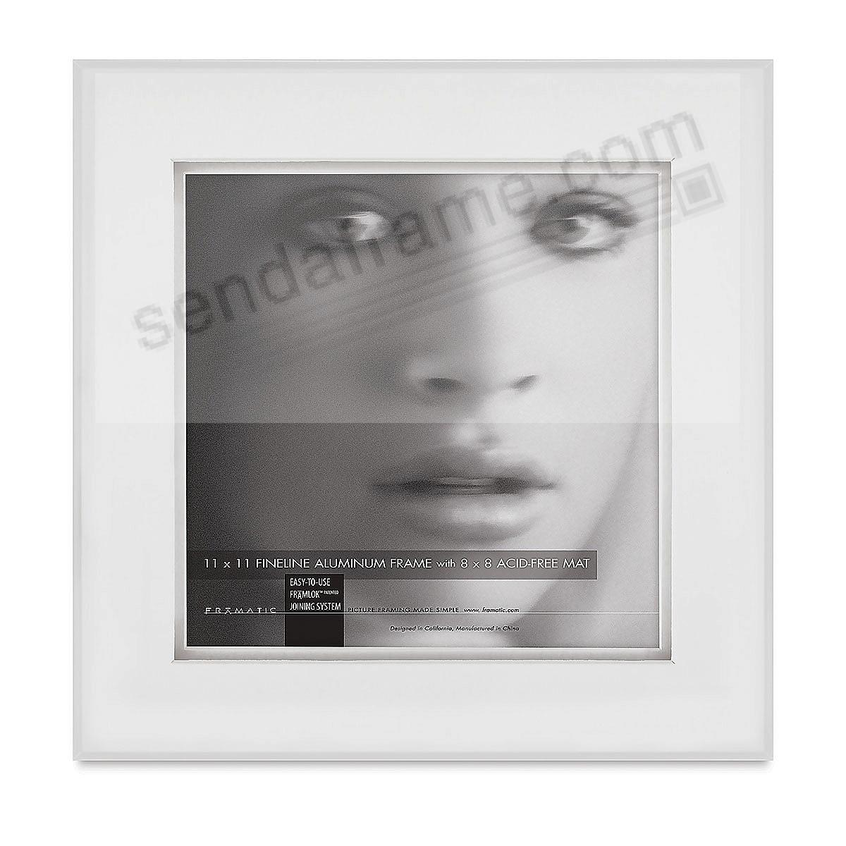 FINELINE White Aluminum Shadow Matted 11x11/8x8 by Framatic®