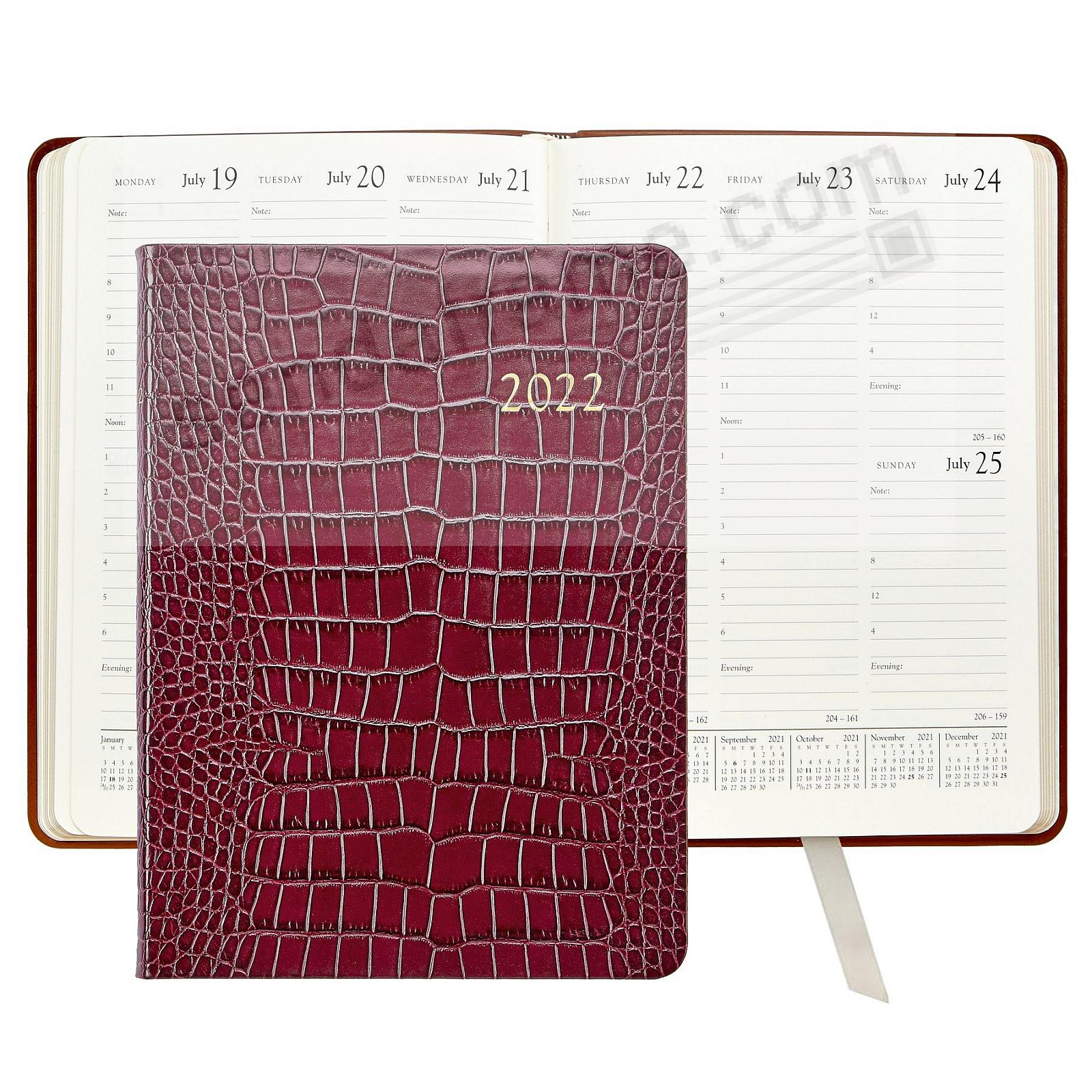 2020 Desk Diary 9inch COGNAC CROCODILE EMBOSSED Leather by Graphic Image™