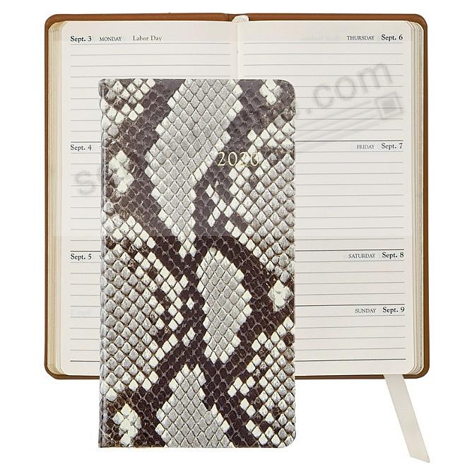 2020 NATURAL PYTHON 6-in Pocket Datebook Fine EMBOSSED Leather by Graphic Image™