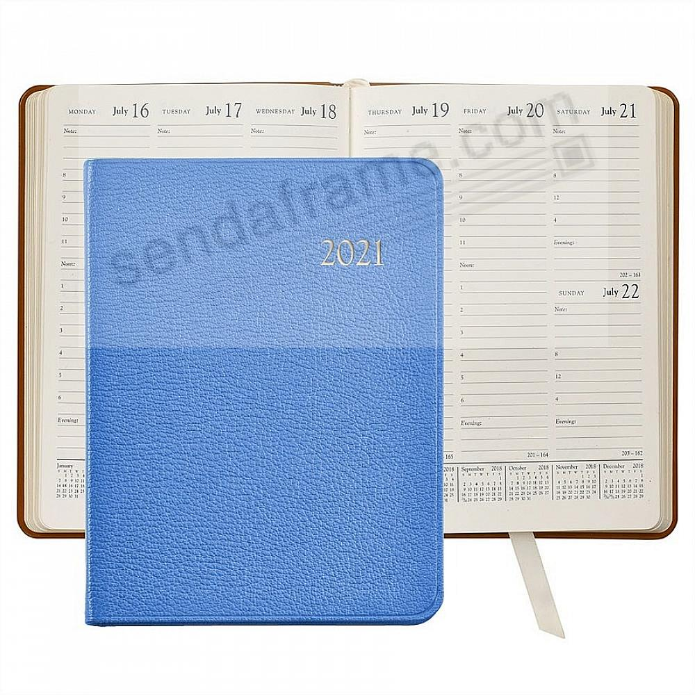 2021 Hydrangea-Blue Goatskin Leather 9in Desk Diary by Graphic Image™