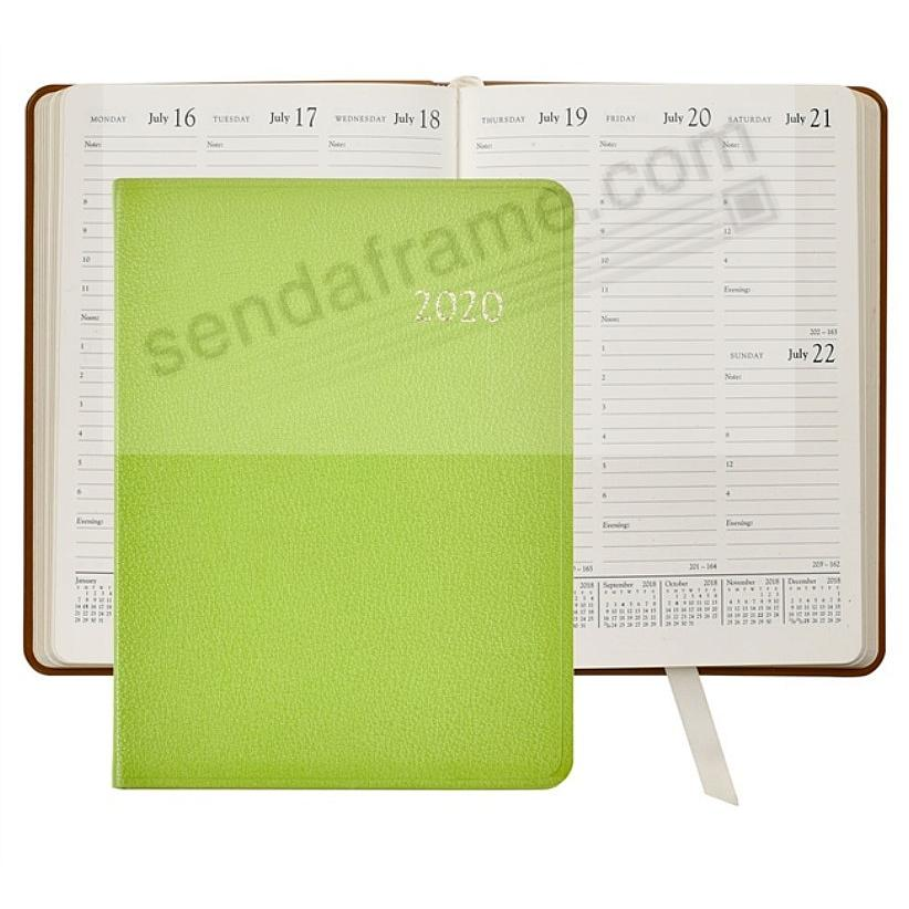 2020 LIME Goatskin Leather 9in Desk Diary by Graphic Image™